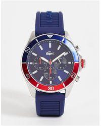 Lacoste Montre chronographe en silicone pour homme - bleu