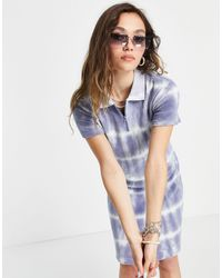 Weekday Jana Organic Cotton Tie Dye Polo Mini Dress - Blue