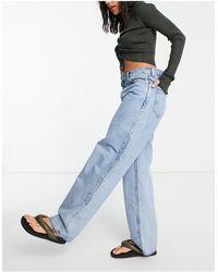 Weekday Rail Organic Cotton Mid Rise Straight Leg Jeans - Blue