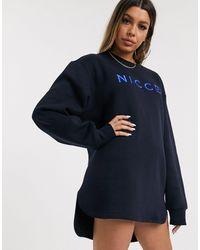 Nicce London – Legeres Sweatkleid mit gesticktem Logo - Blau