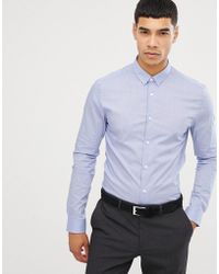 New Look - Muscle Fit Shirt In Light Blue - Lyst