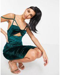 Club L London Изумрудно-зеленое Бархатное Платье Миди С Вырезом На Лифе И Сборками -зеленый Цвет