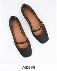 ASOS Wide Fit Lolly Mary Jane Ballet Flats - Black