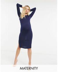 Flounce London Flounce Maternity Basic Jersey Midi Dress With Long Sleeve - Blue