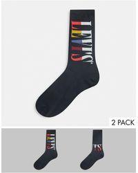 Levi's Набор Из 2 Пар Мужских Носков Черного Цвета С Логотипом Levis-черный