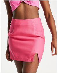 In The Style Minifalda rosa intenso evasé de