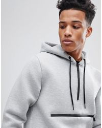 Only & Sons - Scuba Hoodie With Half Zip Detail - Lyst