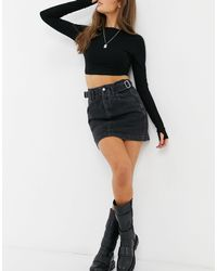 TOPSHOP Buckle Detail Mini Skirt - Black