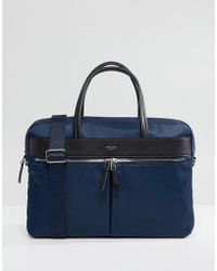 Knomo Mayfair Hanover Briefcase With Laptop Compartment With Rfid Protection Lined Pockets - Blue