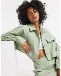 Collusion Cropped Utility Shirt Co-ord - Green