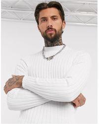 ASOS – Breit gerippter Muskel-Pullover mit Stehkragen - Weiß