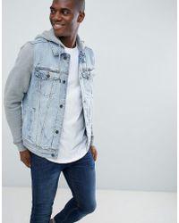 Hollister - Denim Jacket Sweat Hood & Sleeves In Light Wash/grey - Lyst