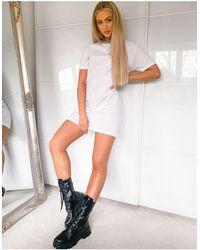 Brave Soul Dawn Leopard Contrast Ringer T-shirt Dress - White