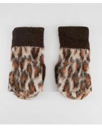 ASOS - Leopard Fluffy Mittens - Lyst