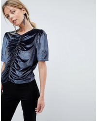 ASOS Asos T-shirt In Velvet With Ruching And Puff Sleeve - Gray