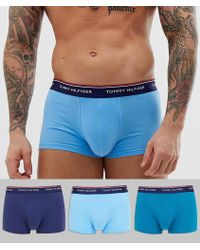 Tommy Hilfiger 3 Pack Trunks With Contrast Waistband In Light Blue/mid Blue/navy