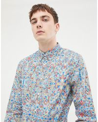 Pretty Green X The Beatles Paisley Slim Fit Shirt In Multi - Blue