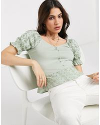 ONLY Top With Puff Sleeves And Broderie Detail - Green