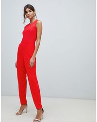 French Connection Tuta jumpsuit aderente - Rosso
