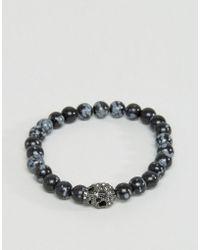 Simon Carter - Swarovski Skul Bracelet In Snowflake Obsidian - Lyst