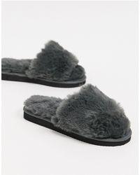 ASOS Zack Chunky Slider Slippers - Grey