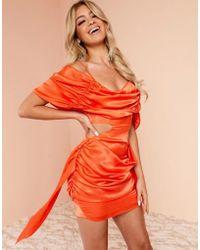 ASOS Luxe Super Drape Mini Dress In Orange Satin