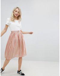Glamorous - Pleated Metallic Skirt - Lyst