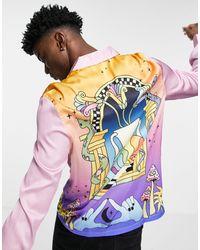 ASOS Атласная Рубашка Классического Кроя С Фантазийным Принтом По Нижнему Краю И На Спине - Пурпурный