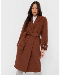 Stradivarius Tailored Belted Coat - Brown