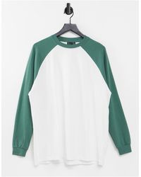 ASOS - Camiseta blanca extragrande con manga larga raglán verde a contraste - Lyst