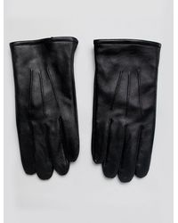 ASOS Gants en cuir compatibles écran tactile - Noir