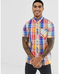 Fred Perry Madras Check Short Sleeve Shirt In Multi - Multicolour