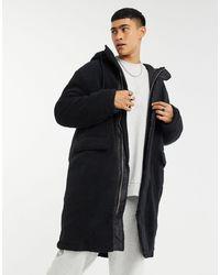 ASOS Borg Oversized Longline Jacket - Black
