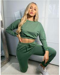 South Beach Oversized Cropped Sweatshirt - Green