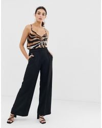 River Island - Wide Leg Trousers With Button Detail In Black - Lyst