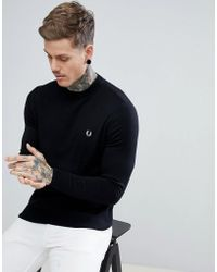 Fred Perry - Crew Neck Cotton Jumper In Black - Lyst