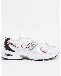 New Balance Белые Кроссовки С Красно-серебристой Отделкой 530-белый