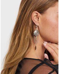 Regal Rose Equinox - Boucles d'oreilles pendantes avec chaînes et pampilles célestes - Plaqué argent - Métallisé