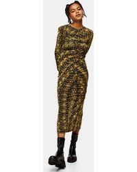 TOPSHOP Разноцветное Трикотажное Платье Миди Со Звериным Принтом -многоцветный