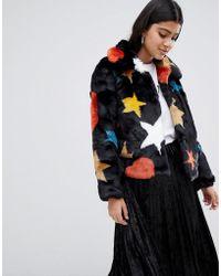 Glamorous Star Print Faux Fur Cropped Jacket - Black