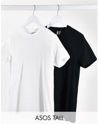ASOS Asos Design Tall Ultimate Organic Cotton T-shirt With Crew Neck 2 Pack - Black