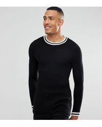 ASOS - Asos Tall Muscle Fit Ribbed Crew With Tipping Detail In Black - Lyst