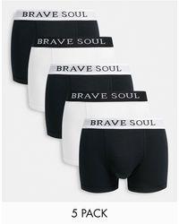 Brave Soul 5 Pack Boxers - Black