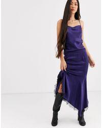 & Other Stories Fishtail Lace-hem Midi Skirt - Blue
