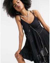 Free People Sway With Me Trapeze Dress - Black