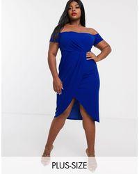 Simply Be Платье Миди Кобальтового Цвета С Запахом -синий