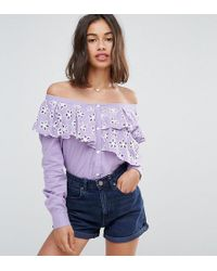 ASOS - Cotton Broderie Off Shoulder Shirt - Lyst