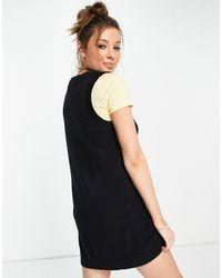 Monki - Черное Трикотажное Платье Мини Без Рукавов С V-образным Вырезом Из Органического Хлопка Robin-черный Цвет - Lyst