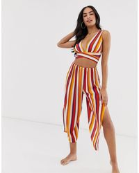 ASOS 70s Stripe Beach Cropped Trousers With Splits Two-piece - Red