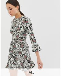 John Zack Fluted Sleeve Tea Dress - Multicolour